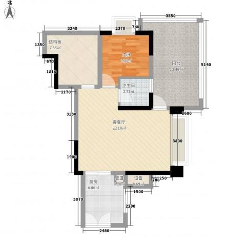 深业东城上邸1室1厅1卫1厨62.00㎡户型图