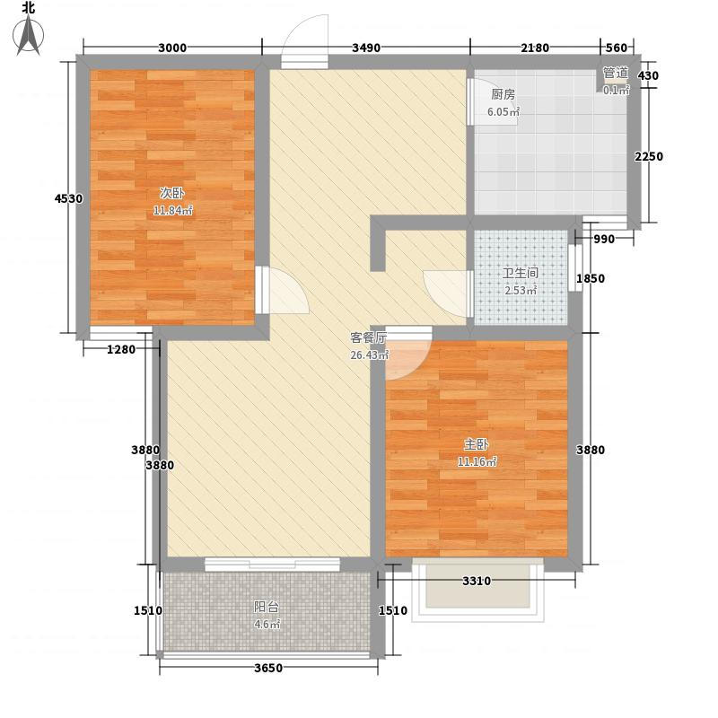 滨湖前城86.80㎡滨湖前城户型图20080725-B01B02B03楼B户型2室2厅1卫1厨户型2室2厅1卫1厨