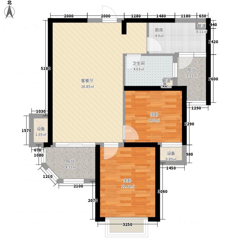 恒大江湾87.00㎡高层3号楼A2户型2室2厅1卫1厨
