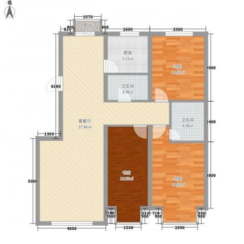 武夷嘉园3室1厅2卫1厨119.00㎡户型图