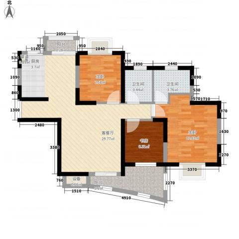 中兴华庭3室1厅2卫0厨118.00㎡户型图