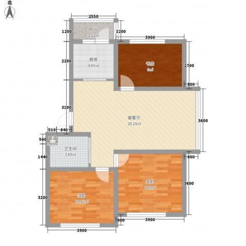 武夷嘉园3室1厅1卫1厨97.00㎡户型图