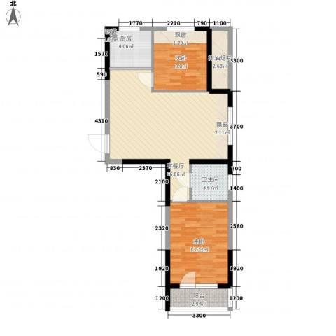 澳海西湖印象2室1厅1卫1厨77.00㎡户型图