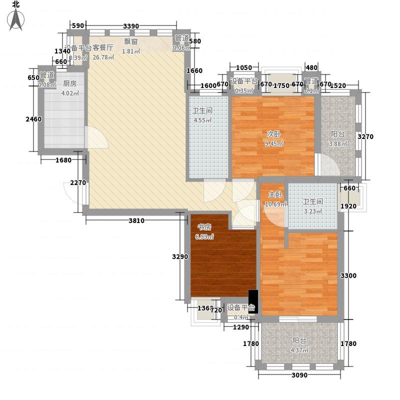 永嘉天地110.00㎡永嘉天地户型图2号楼标准层1单元C户型3室2厅2卫1厨户型3室2厅2卫1厨