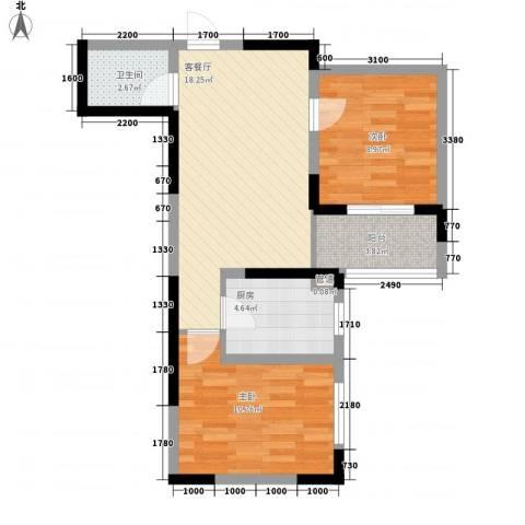 锦江公馆2室1厅1卫1厨76.00㎡户型图