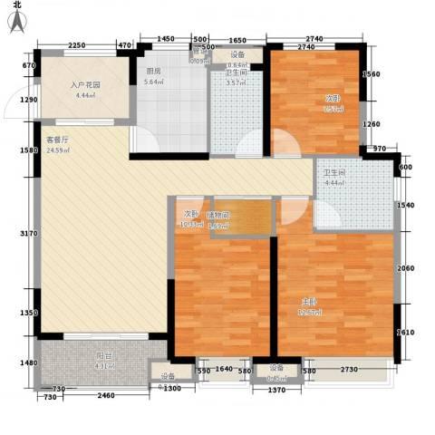 景瑞望府3室1厅2卫1厨115.00㎡户型图