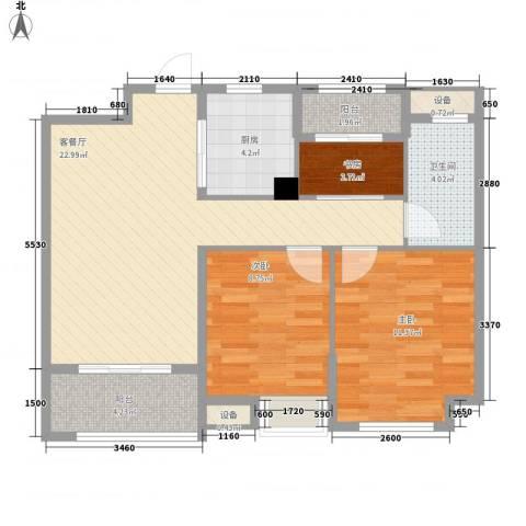 景瑞望府3室1厅1卫1厨88.00㎡户型图