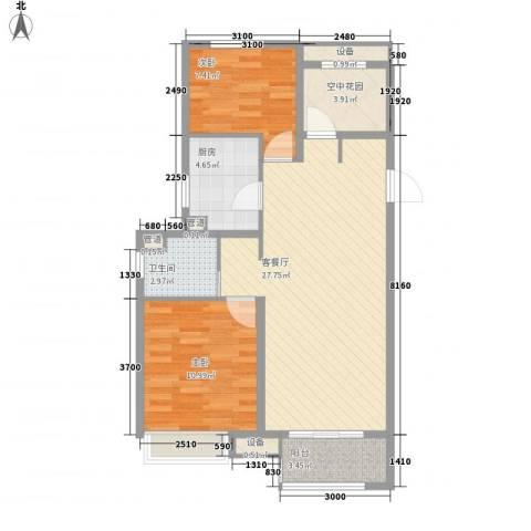 景瑞望府2室1厅1卫1厨89.00㎡户型图