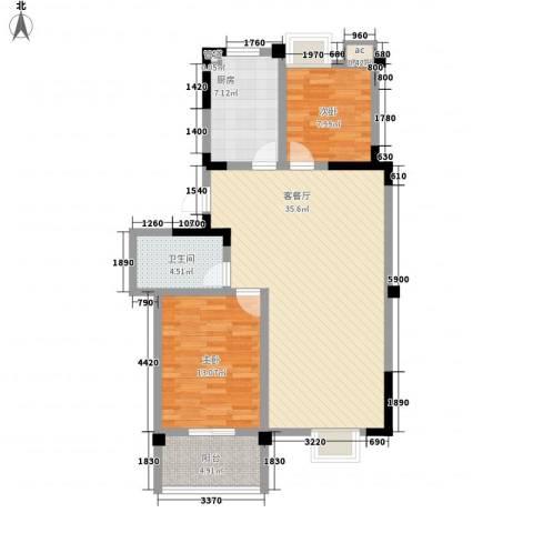 星盛家园2室1厅1卫1厨105.00㎡户型图