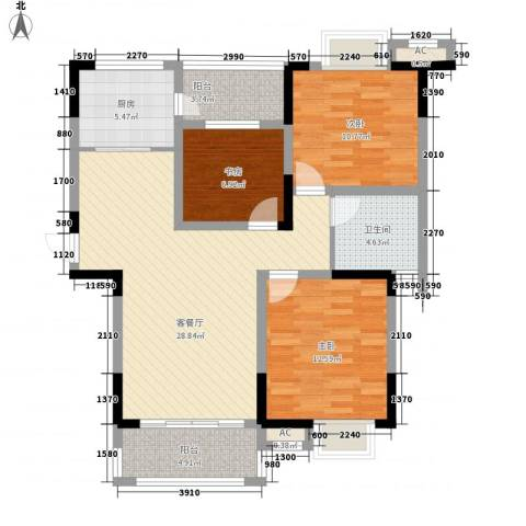 中宸御龙湾3室1厅1卫1厨115.00㎡户型图