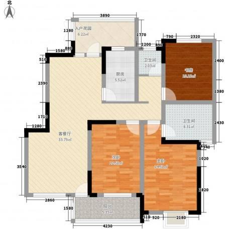 御源林城3室1厅2卫1厨140.00㎡户型图