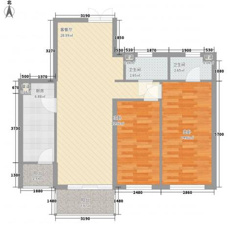 东方剑桥2室1厅2卫1厨104.00㎡户型图