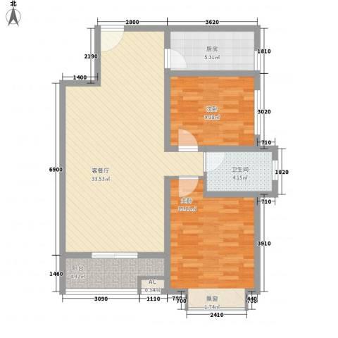 翠屏湾2期兰卡威小镇2室1厅1卫1厨95.00㎡户型图