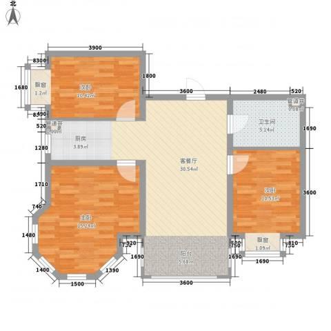 松浦观江国际3室1厅1卫0厨72.06㎡户型图