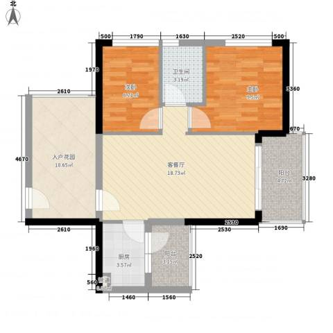 可逸家园2室1厅1卫1厨86.00㎡户型图