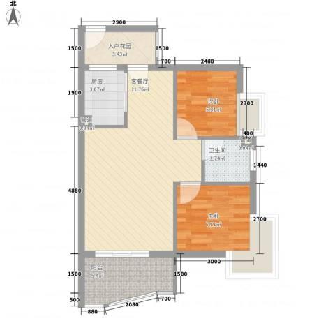 顺泽玲珑湾2室1厅1卫1厨71.00㎡户型图