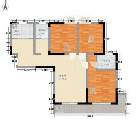 银领时代3室1厅2卫1厨129.00㎡户型图