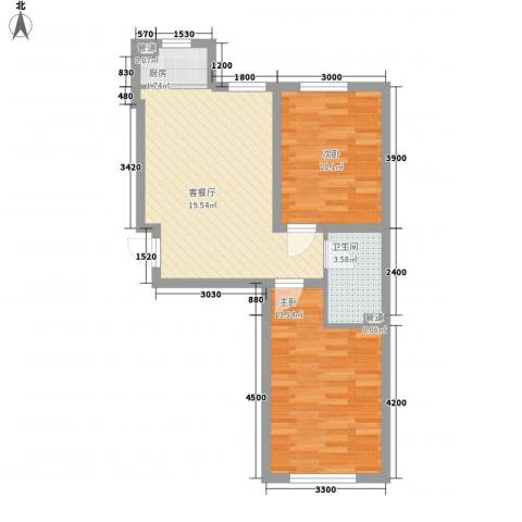 温哥华森林2室1厅1卫1厨51.00㎡户型图