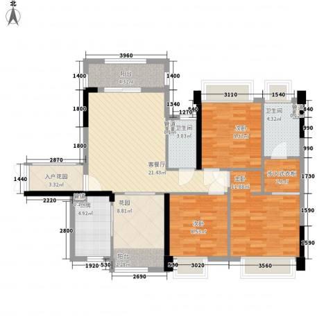 保利拉菲3室1厅2卫1厨120.00㎡户型图