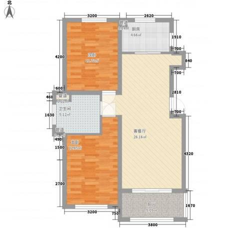 温哥华森林2室1厅1卫1厨65.90㎡户型图