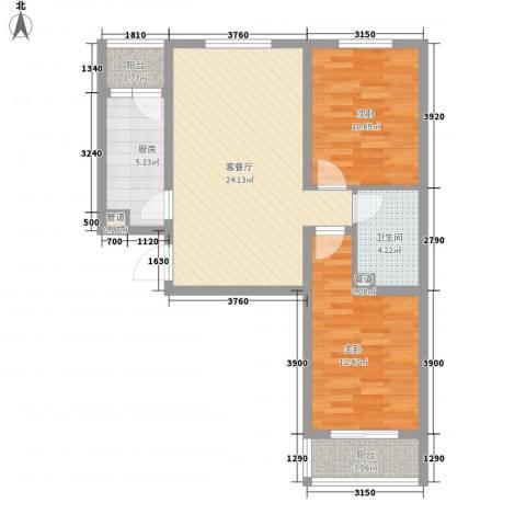 阳光水岸2室1厅1卫1厨90.00㎡户型图