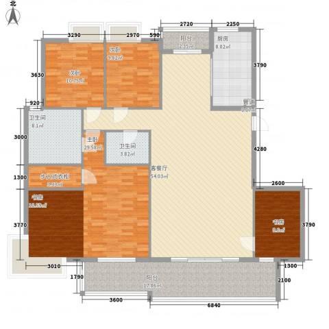 文化一村4室1厅2卫1厨216.00㎡户型图