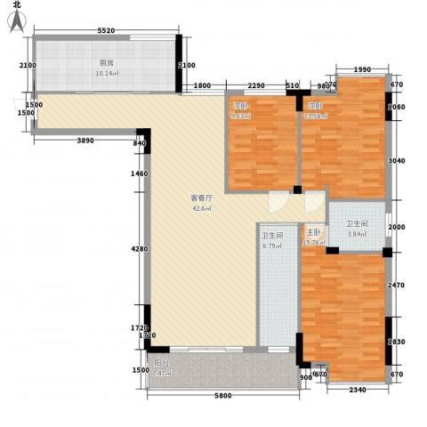 文化一村3室1厅2卫1厨152.00㎡户型图