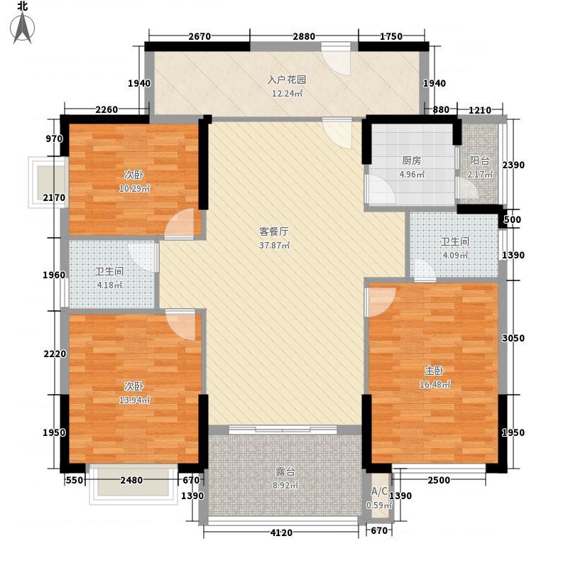鸿业城市花园133.00㎡15座奇数层户型3室2厅2卫1厨