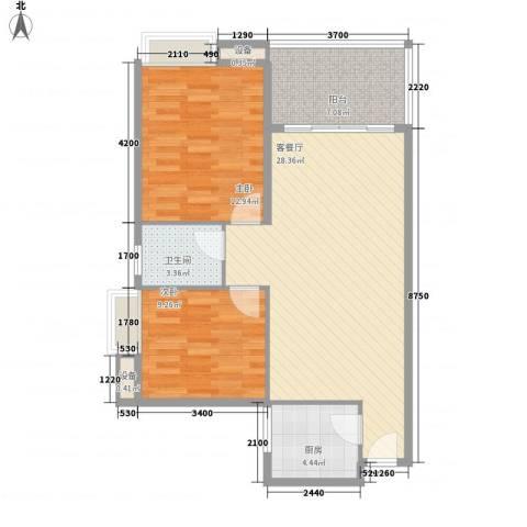 宝铼雅居2室1厅1卫1厨66.20㎡户型图