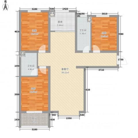 阳光水岸3室1厅2卫1厨136.00㎡户型图