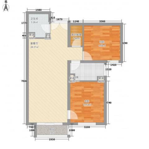 建工・郭庄家园2室1厅1卫1厨69.71㎡户型图