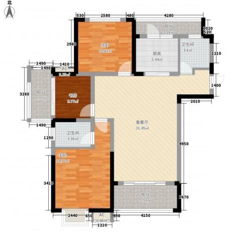 中宸御龙湾3室1厅2卫1厨128.00㎡户型图