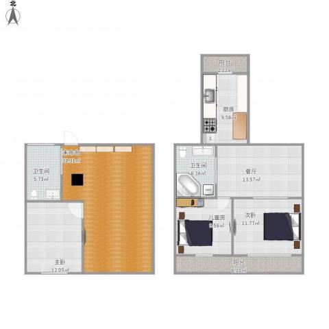 宝地・东晟花园3室1厅2卫1厨145.00㎡户型图