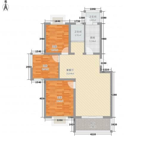 明珠万福家园3室1厅2卫1厨111.00㎡户型图