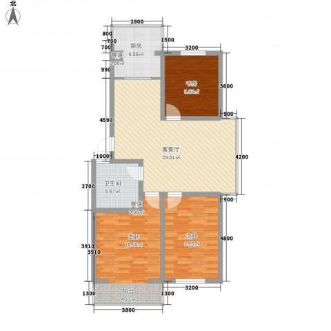 上东街区美一方3室1厅1卫1厨113.00㎡户型图