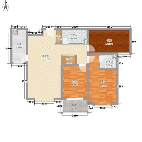 阳光水岸3室1厅2卫1厨125.00㎡户型图