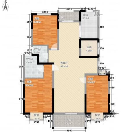 申鑫名城3室1厅2卫1厨169.00㎡户型图