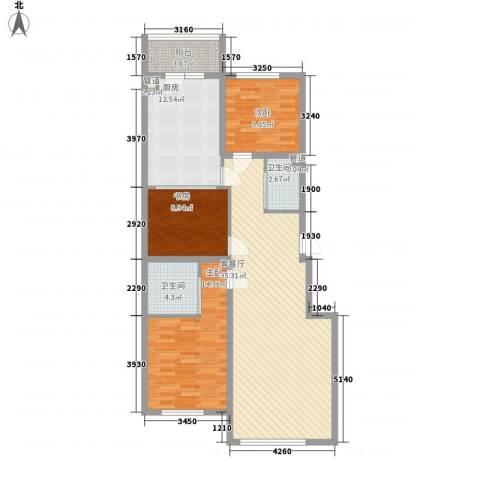 龙城御苑3室1厅2卫1厨103.36㎡户型图
