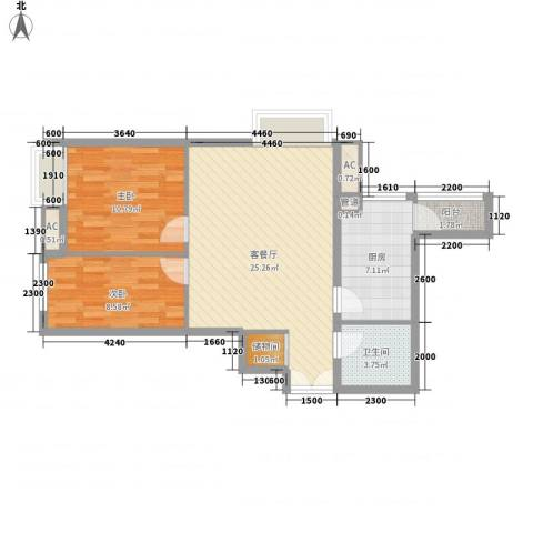 融科橄榄城三期君邑2室1厅1卫1厨85.00㎡户型图