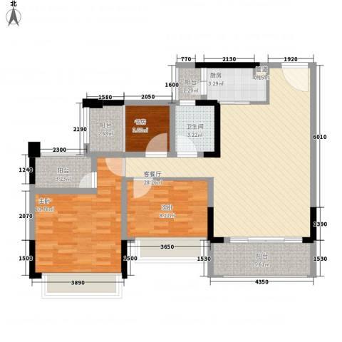 金马香颂居3室1厅1卫1厨107.00㎡户型图