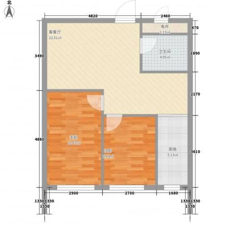 福佳新都市2室1厅1卫1厨76.00㎡户型图