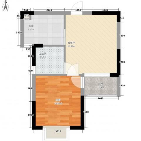 金江苑二村1室1厅1卫1厨52.00㎡户型图