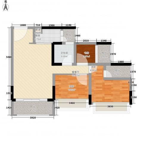 金马香颂居3室1厅1卫1厨89.00㎡户型图