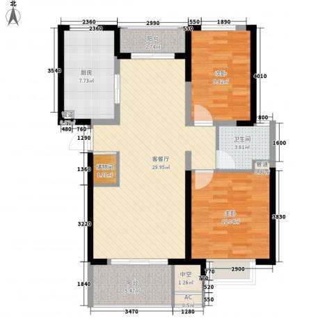 经纬城市绿洲四期泓汇地标2室1厅1卫1厨105.00㎡户型图