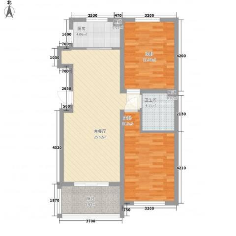 温哥华森林2室1厅1卫1厨92.00㎡户型图