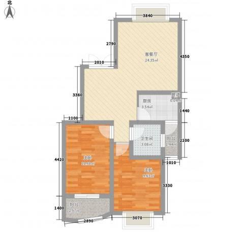 景山秀水2室1厅1卫1厨111.00㎡户型图