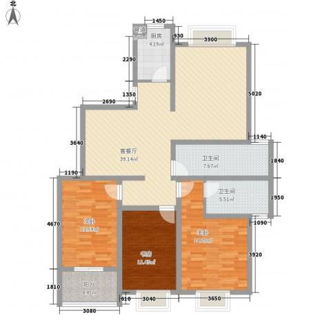 景山秀水3室1厅2卫1厨99.84㎡户型图