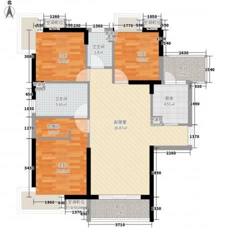 越秀星汇云锦3室0厅2卫1厨89.80㎡户型图