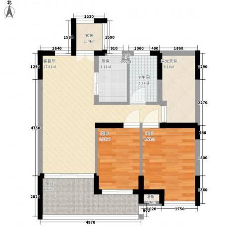 优活华庭2室1厅1卫1厨80.00㎡户型图