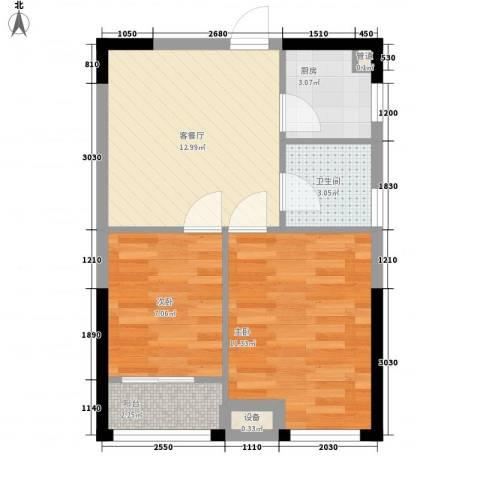 优活华庭2室1厅1卫1厨61.00㎡户型图